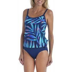 Maxine Womens Painted Palms Blouson Faux Tankini Swimsuit