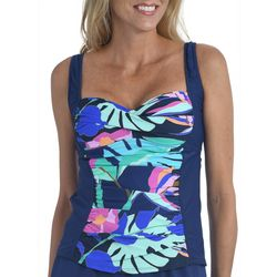 Maxine Womens Jungle Oasis Shirred Twist Front Tankini Top