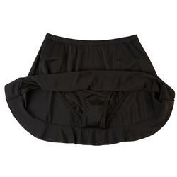 Womens Solid Ruffle Hem Swim Skirt