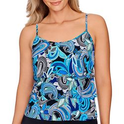 American Beach Womens Cool Paisley Triple Tier Tankini Top