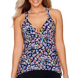American Beach Womens Posies V-Neck Tankini Top