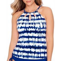 Womens Tie Dye High Neck Cutout Tankini Top