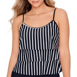 American Beach Womens Striped Triple Tier Tankini Top