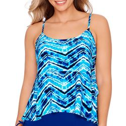 American Beach Womens Tie Dye Chevron Tiered Tankini Top