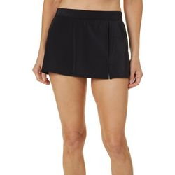 Womens Solid Slitted Swim Skirt