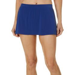Womens Solid Shaping Swim Skirt