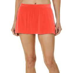 Womens Solid Shaping Swim Skirt