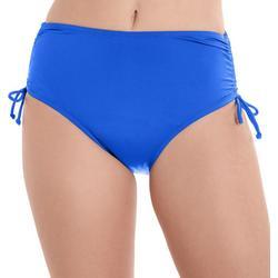 Womens Solid Ruched Swim Briefs