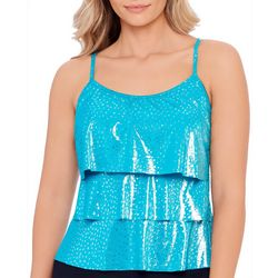 American Beach Womens Metallic Dots Tiered Tankini Top
