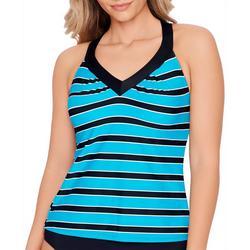 Women Horizontal Stripe Ring Back Tankini Top