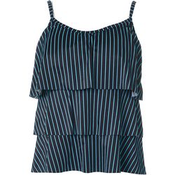 American Beach Womens Tick Stripe Triple Tier Tankini Top