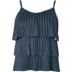 Womens Tick Stripe Triple Tier Tankini Top