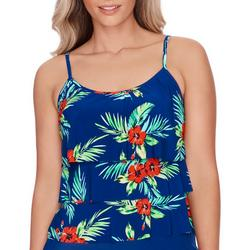 Womens Floral Triple Tier Tankini Top