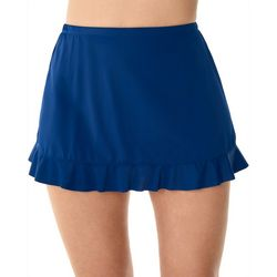 American Beach Womens Solid Ruffle Hem Swim Skirt