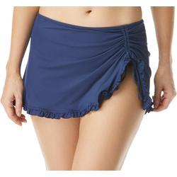 Womens Ruffled Trim Solid Swim Skirt