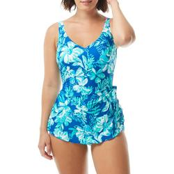 Womens Tropical Sarong One Piece Swimsuit
