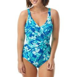 Womens Blue Floral Sarong One Piece Swimsuit