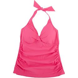 Womens Solid Ruched Tankini