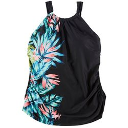 Ele Mar Womens Tropical Placement Print Blouson Swim Top