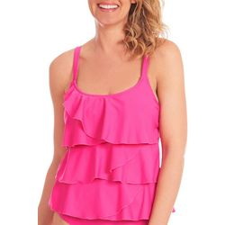 Gloria Vanderbilt Womens Solid Triple Tier Tankini Top