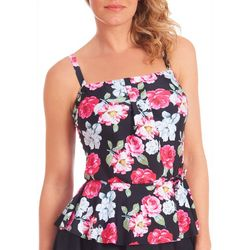 Gloria Vanderbilt Womens Rose Peplum Tankini Top