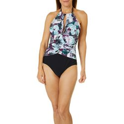 Gloria Vanderbilt Womens Amanda High Neck One Piece Swimsuit