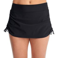 PB Sport Womens Solid Ruched Side Swim Skirt