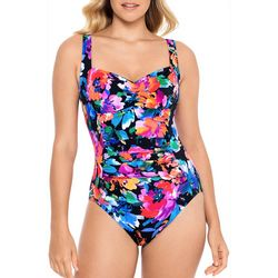 Paradise Bay Womens Tropical Ruched Mio One Piece Swimsuit