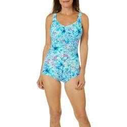 Paradise Bay Womens Starburst Floral Mio Girl Leg  Swimsuit