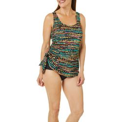 Paradise Bay Womens Dot Print Side Tie Faux Tankini Swimsuit