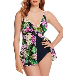 Paradise Bay Womens Tropical Floral Flyaway Swimdress