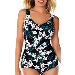 Paradise Bay Womens Floral Print Girl Leg One Piece Swimsuit