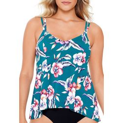 Paradise Bay Womens Strappy Floral Hi-Low Tankini Top