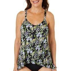 Paradise Bay Womens Floral Ruffle Hem Tankini Top