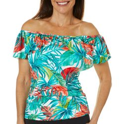 Paradise Bay Women Tropical Off Shoulder Tankini Top