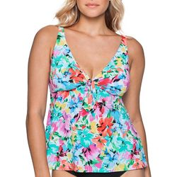 Paradise Bay Womens Floral Tie Front Tankini Top