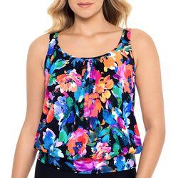 Paradise Bay Womens Watercolor Floral  Blouson Tankini Top