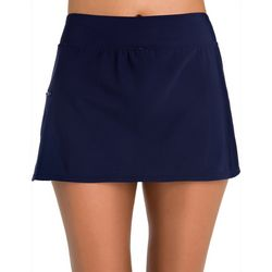 Paradise Bay Womens Penbrooke Solid Zip Pocket Swim Skort