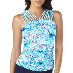 Paradise Bay Womens Floral Highneck Strappy Tankini Top