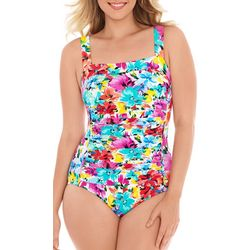 Paradise Bay Bright Floral Ruched Leg One Piece Swimsuit