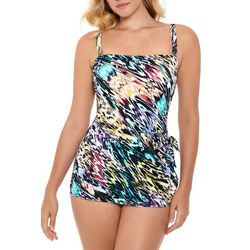 Paradise Bay Womens Watercolor Tie Swimdress