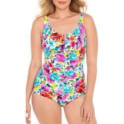 Paradise Bay Womens Bright Floral Girl Leg Swimsuit