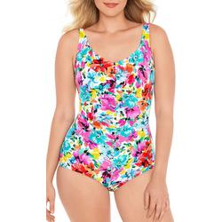 Womens Bright Floral Girl Leg Swimsuit