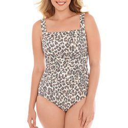 Paradise Bay Womens Leopard One Piece Swimsuit