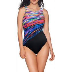 Womens Northern Lights High Neck One Piece Swimsuit