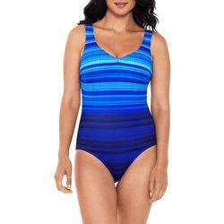 Reebok Womens Scribble Ocean Stripes One Piece Swimsuit