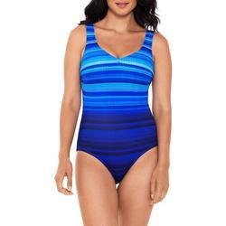Womens Scribble Ocean Stripes One Piece Swimsuit