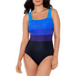 Reebok Womens Ombre Stripe U-Back One Piece Swimsuit