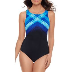 Reebok Womens Weave Print High Neck One Piece Swimsuit