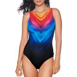 Womens Chevron Ombre High Neckline One Piece Swimsuit